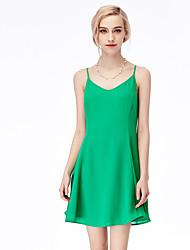 Venta de la velocidad ebay a través de la gasa sexy de la falda del vestido del v-cuello caliente del amazon expuso el vestido del halter