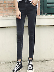 Women's Skinny Jeans Pants,Casual/Daily Simple Solid High Rise Zipper Cotton Micro-elastic Spring