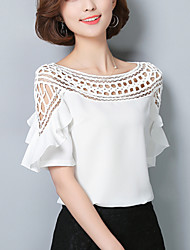 Women's Slim chic Cut Out Summer Blouse Solid Patchwork Ruffle Boat Neck  Length Sleeve Thin