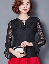 Подписать рубашку кружева 2017 новых женщин&# 39; s круглая шея рукава рубашки кружева рубашки с длинным рукавом рубашки рубашки