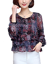 Women's Casual/Daily Simple All Seasons Shirt,Plaid V Neck Long Sleeve Red Cotton / Polyester Thin