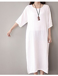 Women's Casual/Daily Simple Loose Dress,Solid Round Neck Maxi Cotton All Seasons Low Rise Inelastic Thin