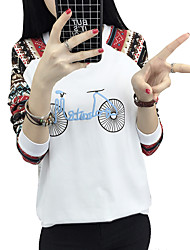 Really making 2017 spring new long-sleeved round neck Slim printing personalized printed T-shirt female bicycle