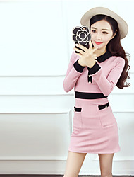 We model the real stars of the new small fragrant wind temperament spell color POLO collar Slim thin jacquard knit dress