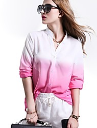Women's Casual/Daily Sexy Spring Blouse,Patchwork V Neck Long Sleeve Rayon Thin