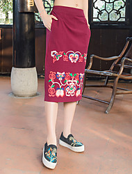 2017 new real shot half-length skirt embroidered long section of national wind skirt 3 colors