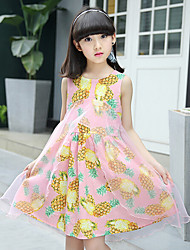 Girl's Beach Print Dress,Cotton Rayon Sleeveless