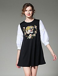 Women's Going out Casual/Daily Loose Dress,Floral Round Neck Midi ½ Length Sleeve Polyester Spring Summer Mid Rise Inelastic Thin