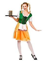 Costumes de Cosplay Fête d'Octobre/Bière Fête / Célébration Déguisement d'Halloween Vert Couleur unie Robe Halloween Fête d'Octobre