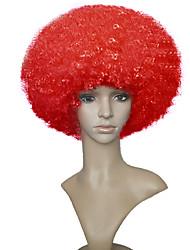 Short capless afro kinky curly perruque amusante rouge clown pour perruque unisexe de costume adulte halloween