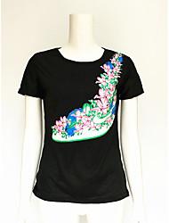 Tee-shirt Femme,Imprimé Vacances simple Manches Courtes Col Arrondi Coton