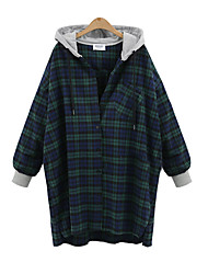 Women's Going out Casual/Daily Active Fall Trench Coat,Color Block Hooded Long Sleeve Long Cotton
