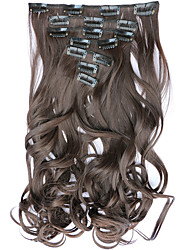 7pcs/Set 130g Chestnut Brown Wavy 50cm Hair Extension Clip In Synthetic Hair Extensions