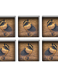 Footprints 3D Bathroom Non-Slip Stickers The Floor Tile Individuality Decorative Stickers Light in the Dark