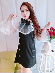 Feminino Blusa Vestidos Conjuntos Casual Férias FofoCor Única Com Transparência Chifon Gola Redonda Manga Comprida Micro-Elástico