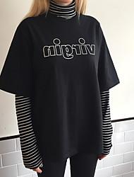 Damen Gestreift Einfach Lässig/Alltäglich T-shirt,Rollkragen Langarm Baumwolle