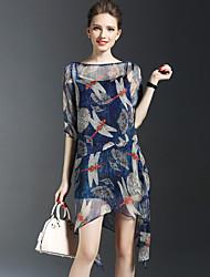 Mujer Línea A Vaina Vestido Noche Playa Vacaciones Simple Sofisticado,Estampado Escote Redondo Sobre la rodilla 1/2 Manga Seda Poliéster