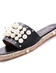 Women's Slippers & Flip-Flops Summer Comfort Other Animal Skin Outdoor Flat Heel Beading Rivet Black White Walking