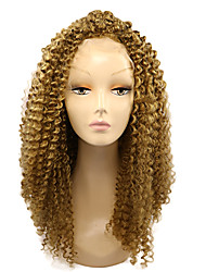 Blonde Color Synthetic Lace Front Wigs Kinky Curly Hair Heat Resistant Fiber Hair Wig for Woman