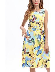 Для женщин Пляж Очаровательный Уличный стиль Свободный силуэт Платье С животными принтами,Круглый вырез Средней длины Без рукавов