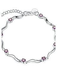 Concise Silver Plated Amethyst Purple Crystal Sweet S Chain & Link Bracelets Jewellery for Women Accessiories