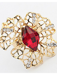Euramerican Costly Gem Ring Hollow Out Fashion Flower Adjustable Ring  Jewelry Gifts