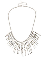 European Silver Tone Twisted Bar Tassel Statement Necklace for Women