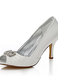 Damen-Hochzeit Schuhe-Hochzeit Outddor Büro Kleid Party & Festivität-Seide-Stöckelabsatz-Komfort Club-Schuhe einfärbbar Schuhe-Elfenbein