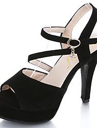 Damen Sandalen Komfort Wildleder Sommer Normal Walking Komfort Schnalle Stöckelabsatz Schwarz 7,5 - 9,5 cm