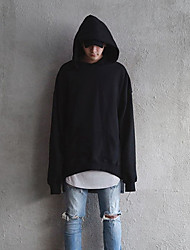 Men's Plus Size Casual/Daily Active Hoodie Solid Oversized Crew Neck Fleece Lining Micro-elastic Cotton