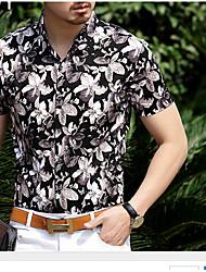 Tee-shirt Homme,Imprimé Décontracté / Quotidien simple Manches Courtes Col de Chemise Cuirs Particuliers Transparent