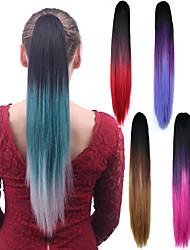 Extensión cosechadora barata sintética del pelo del partido de las mujeres del ponytail del color de la mezcla recta larga