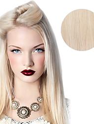 9pcs / set deluxe 120g # 60 платиновая блондинка зола блондинка клип в наращивания волос 16inch 20inch 100% прямые человеческие волосы