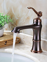 Art Deco/Retro Centerset Widespread with  Ceramic Valve Single Handle One Hole for  Rose Gold , Bathroom Sink Faucet