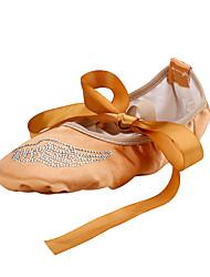 Non Customizable Women's Dance Shoes Satin Ballet Flats Flat Heel Professional Camel