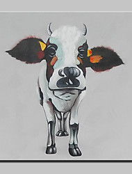Hand-Painted Modern Abstract Lovely Cow Animal Oil Painting On Canvas Wall Art Picture For Home Decoration Ready To Hang