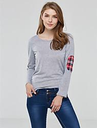 Damen Patchwork Einfach / Street Schick Lässig/Alltäglich T-shirt,Rundhalsausschnitt Frühling / Herbst Langarm Rot / Grau Polyester Mittel