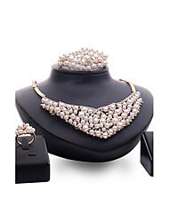 Set de Bijoux Perle imitée Strass Mode Personnalisé euroaméricains Bijoux de Luxe Bijoux Fantaisie Imitation de perle Strass AlliageForme