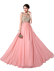 Sheath / Column Scoop Neck Floor Length Chiffon Prom Dress with Appliques