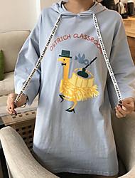 Damen Druck Einfach Lässig/Alltäglich T-shirt,Mit Kapuze Langarm Baumwolle Dünn