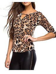 Damen Leopard Einfach Lässig/Alltäglich T-shirt,Rundhalsausschnitt ½ Länge Ärmel Baumwolle