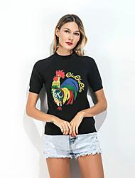 Tee-shirt Femme,Couleur Pleine Broderie Sortie Décontracté / Quotidien Vintage simple Printemps Eté Manches Courtes Col Ras du Cou Spandex