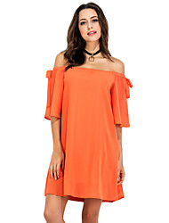 Women's Casual/Daily Work Simple Sheath Dress,Solid Floral Off Shoulder Above Knee Short Sleeve Polyester All Seasons Low Rise