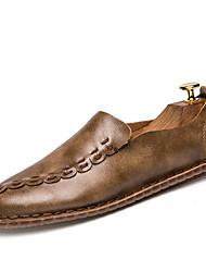 Masculinos sapatos de salto de molas couro casual caqui cinza preto andando