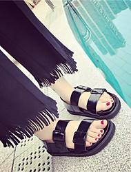 Женские сандалии весна комфорт пу случайные черный