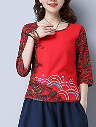 Tee-shirt Femme,Imprimé Sortie Vintage Manches ¾ Col Arrondi Polyester