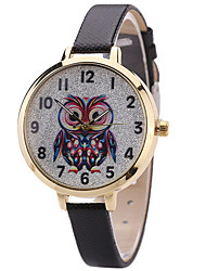 Women's Fashion Watch Wrist Watch Quartz PU Band Unique Creative Cool Casual Cute Silver Powder Multi-colored Owl Alloy Dial Watches