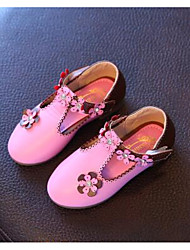 Girls' Flats Spring Fall Moccasin Comfort PU Leatherette Outdoor Casual Low Heel Magic Tape Walking