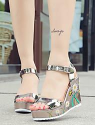 Femme-Décontracté Habillé--Talon Compensé-club de Chaussures Confort-Sandales-Similicuir