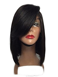 Fashion Periuvian Virgin Hair Bob Lace Wigs Straight Lace Front Human Hair Wigs Short Virgin Hair Bob Wig with Side Bang